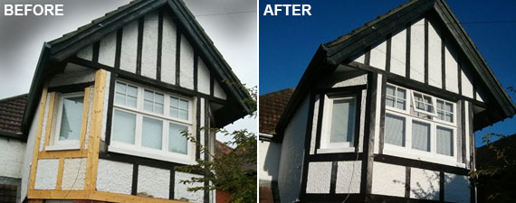 Exterior paintwork on a black and white gable