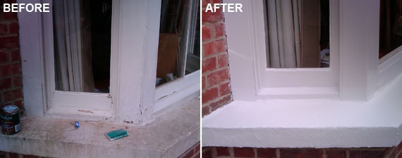 Before and after picture of a Victorian sash window.